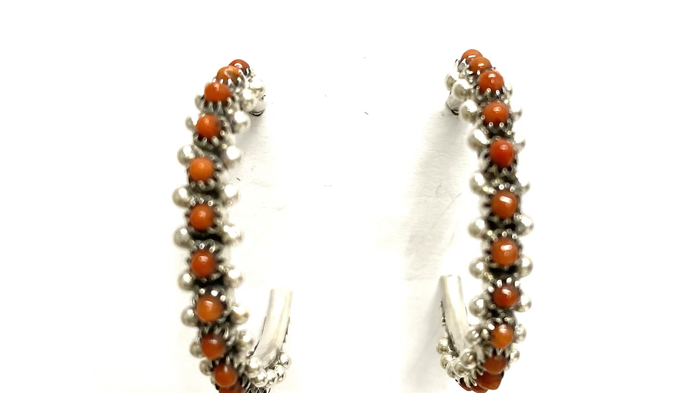 Coral petit point hoops