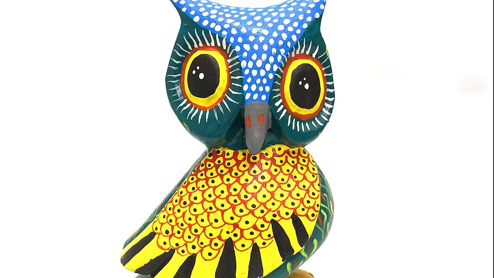 Green Owl Oaxacan Alebrije