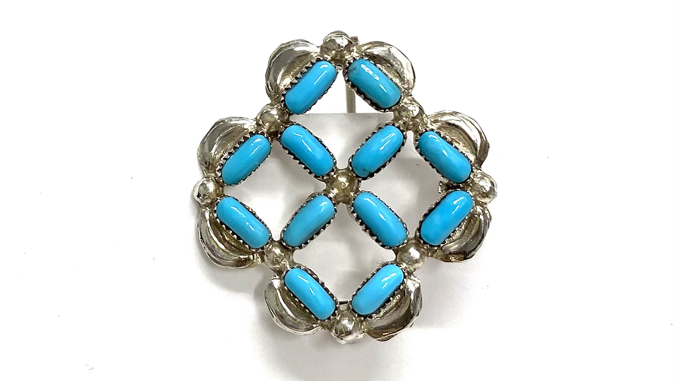 Turquoise silver pin/pendant