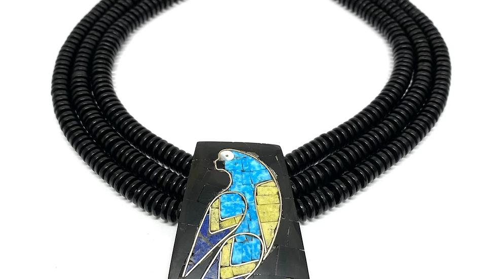 Mosaic black jet parrot necklace
