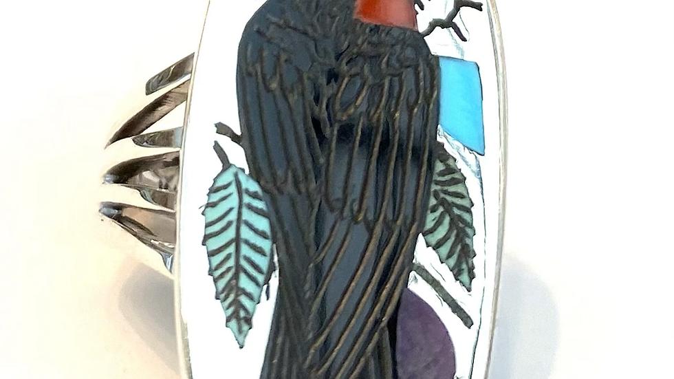Wood pecker inlay ring