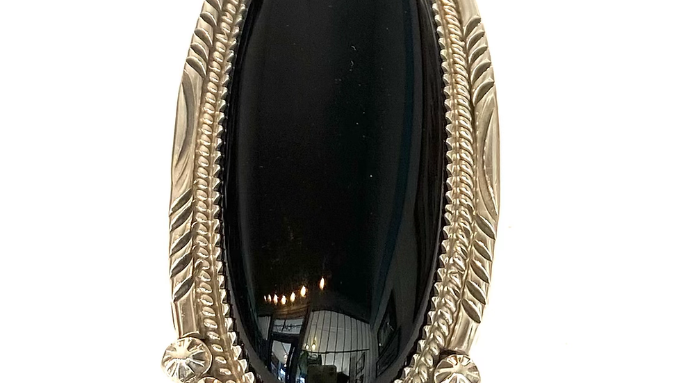 Black jet silver ring