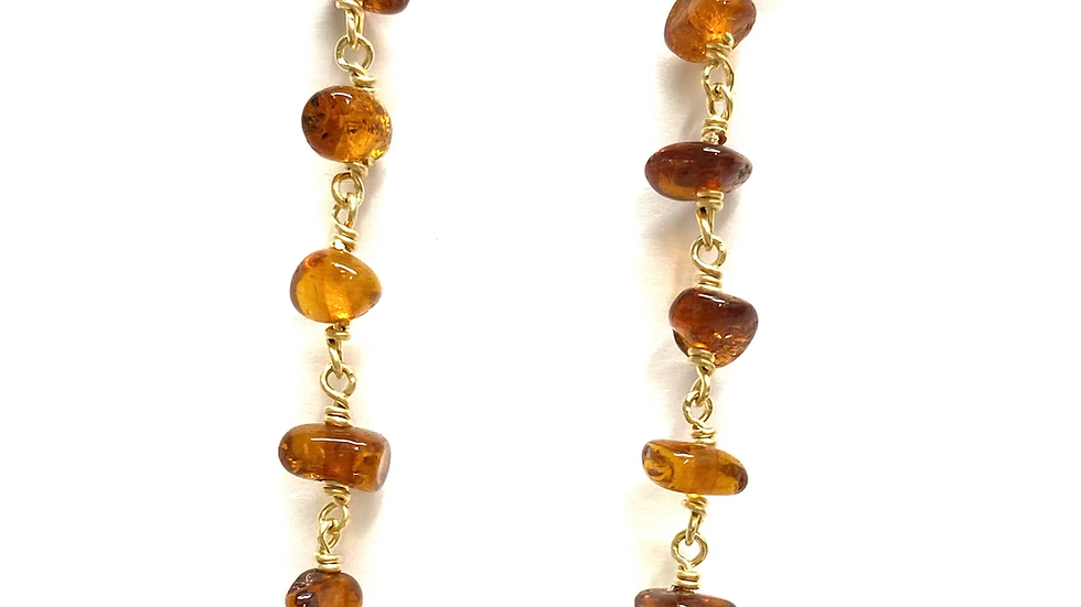Amber and turquoise drop earrings