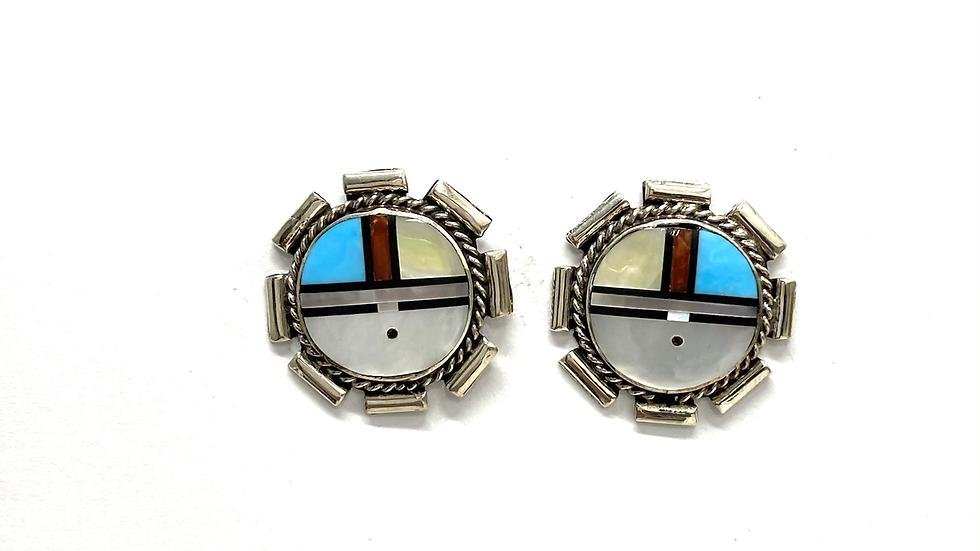 Sun face inlay post earrings