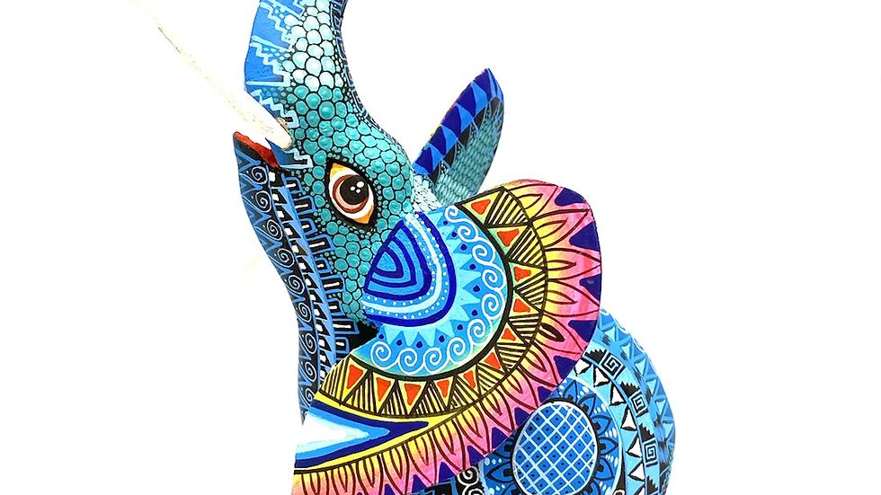 Blue Elephant Oaxacan Alebrije