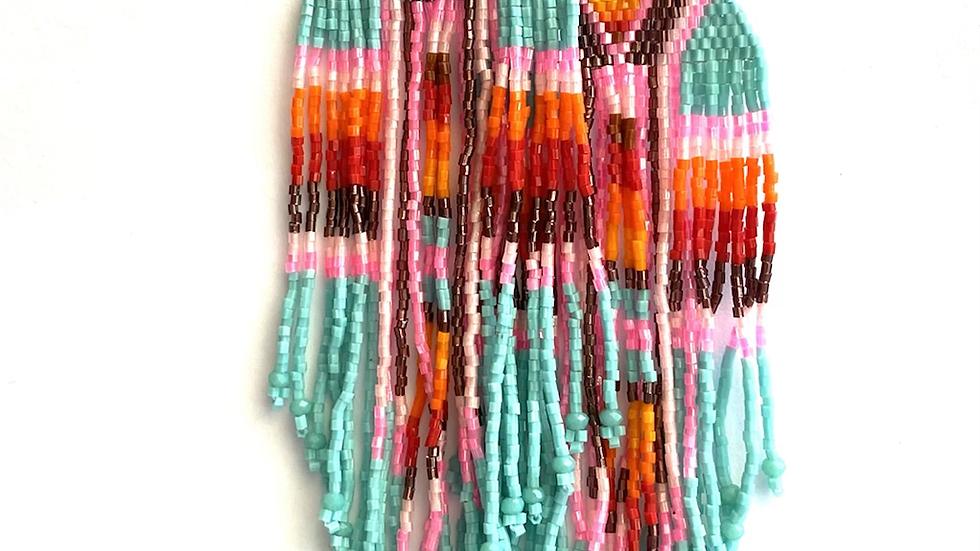 Blue & pink Huichol earrings
