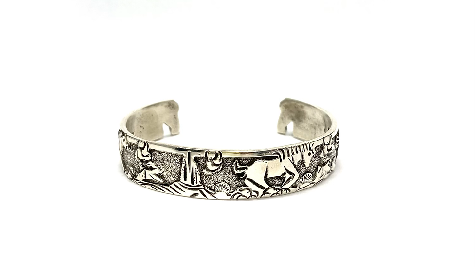 Navajo story teller silver bracelet
