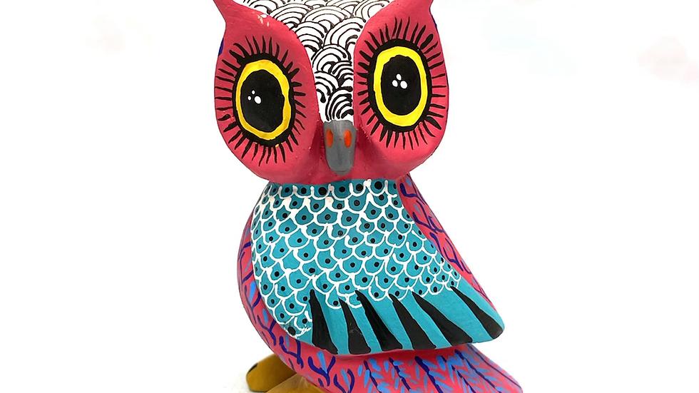 Pink Owl Oaxacan Alebrije