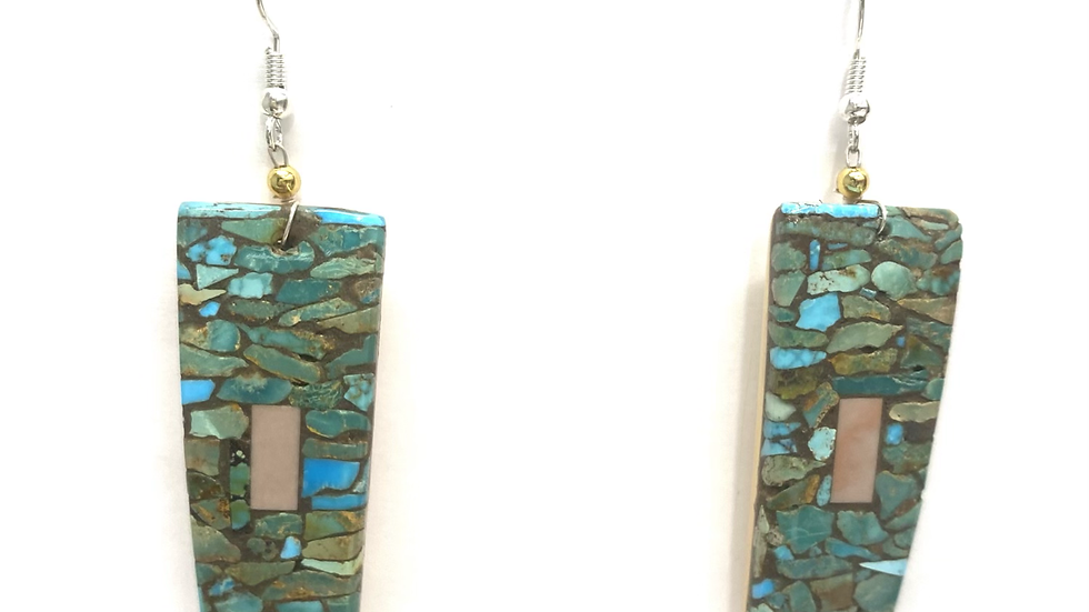 Mosaic earrings turquoise chip