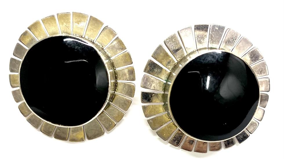 Black jet round post earrings