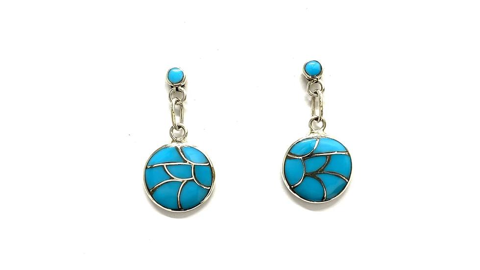 Inlay dangle post earrings