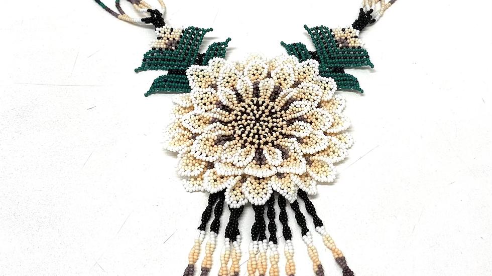 White Cream Peach 3D Huichol flower necklace