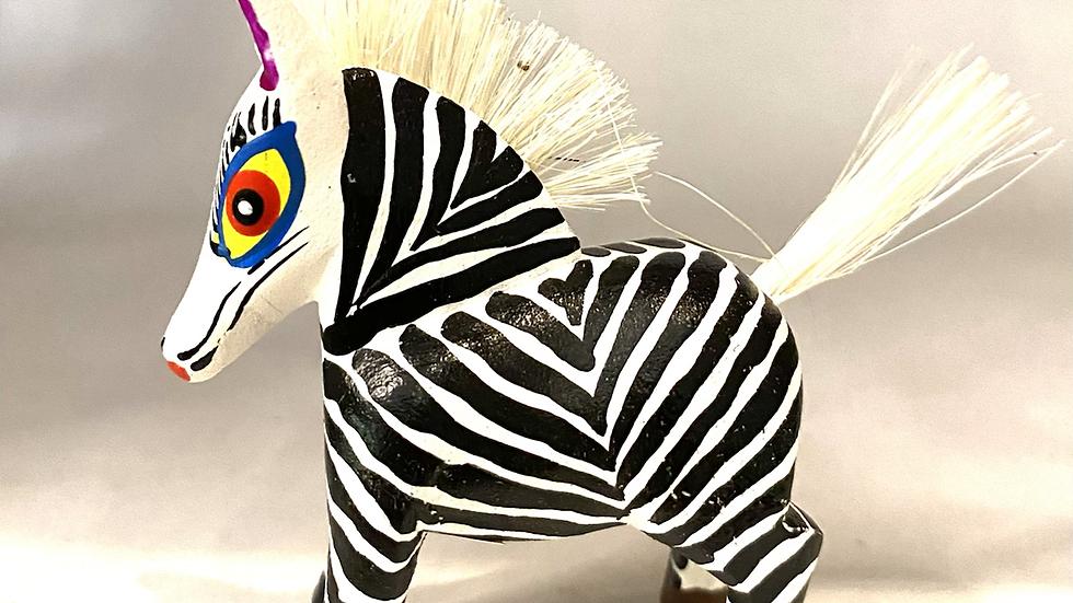 Black and white Zebra Oaxaca Alebrije