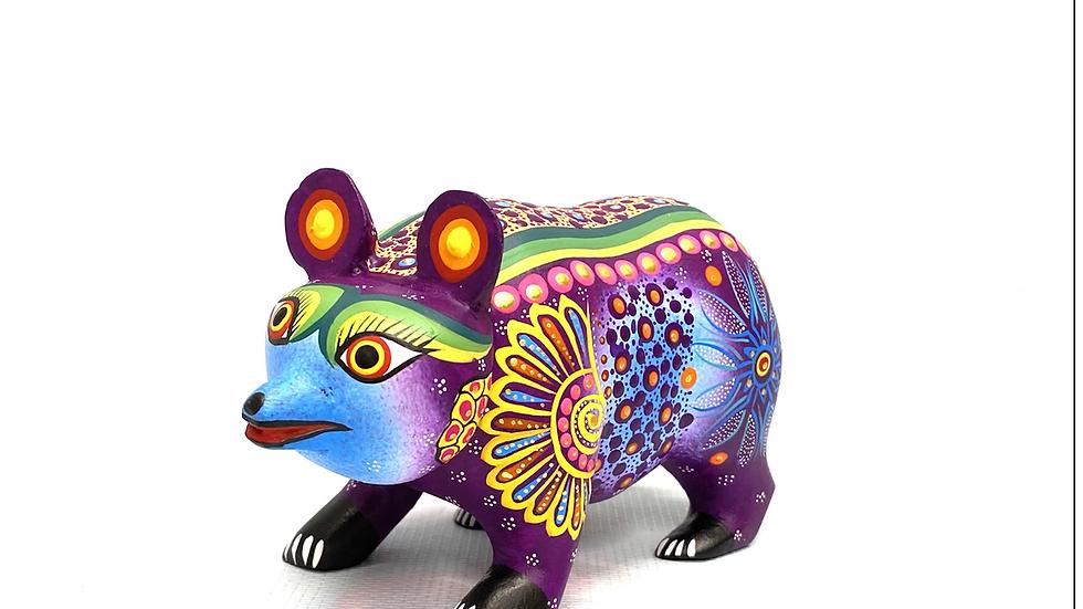 Purple Bear Oaxacan Alebrije