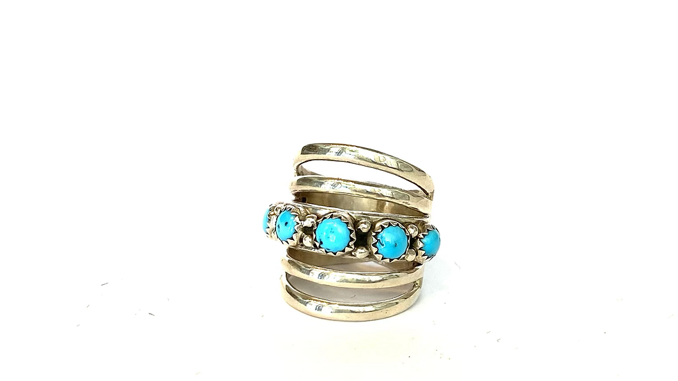 Turquoise split wide ring