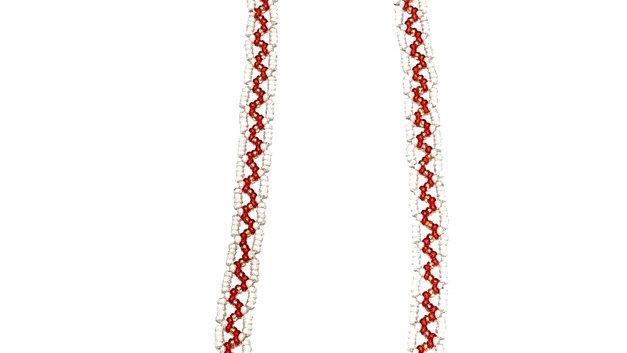 Beaded flower medallion necklace