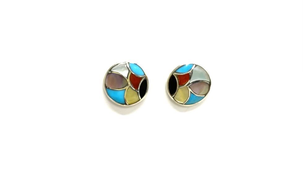 Zuni round thin inlay post earrings (multi color)