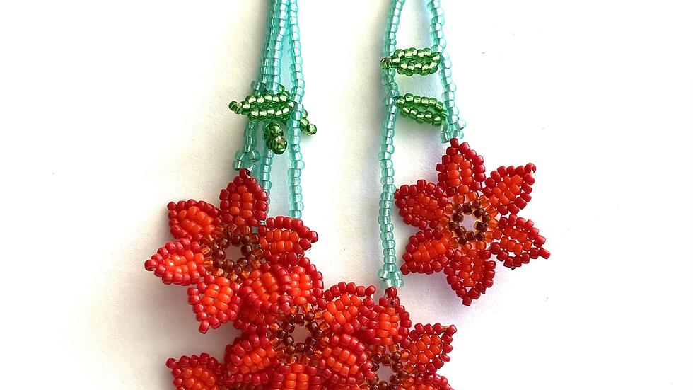 Red Huichol 6 flower earrings