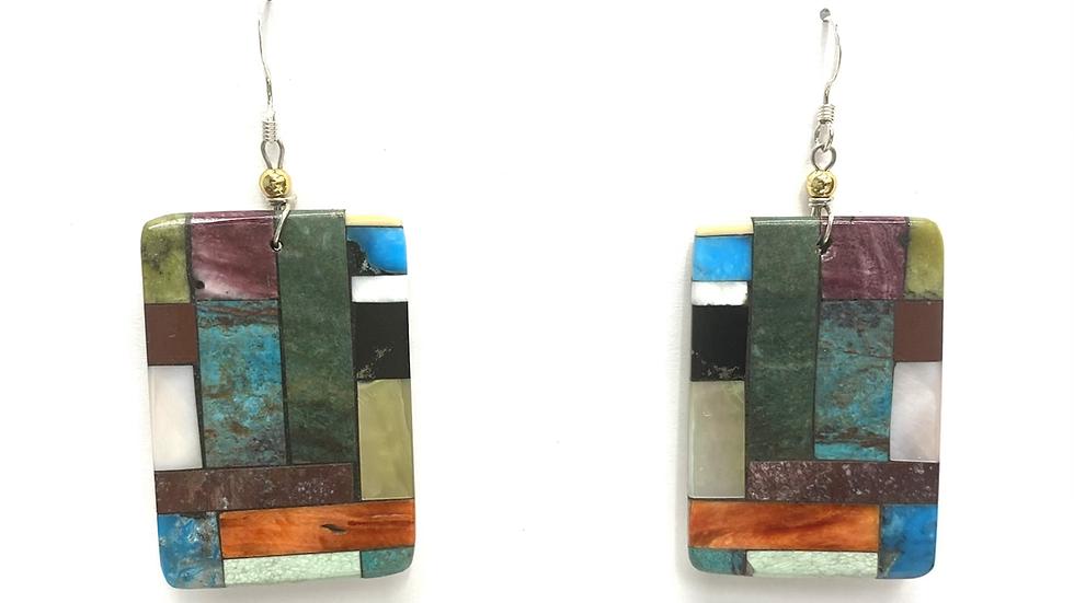 Mosaic on silver earrings