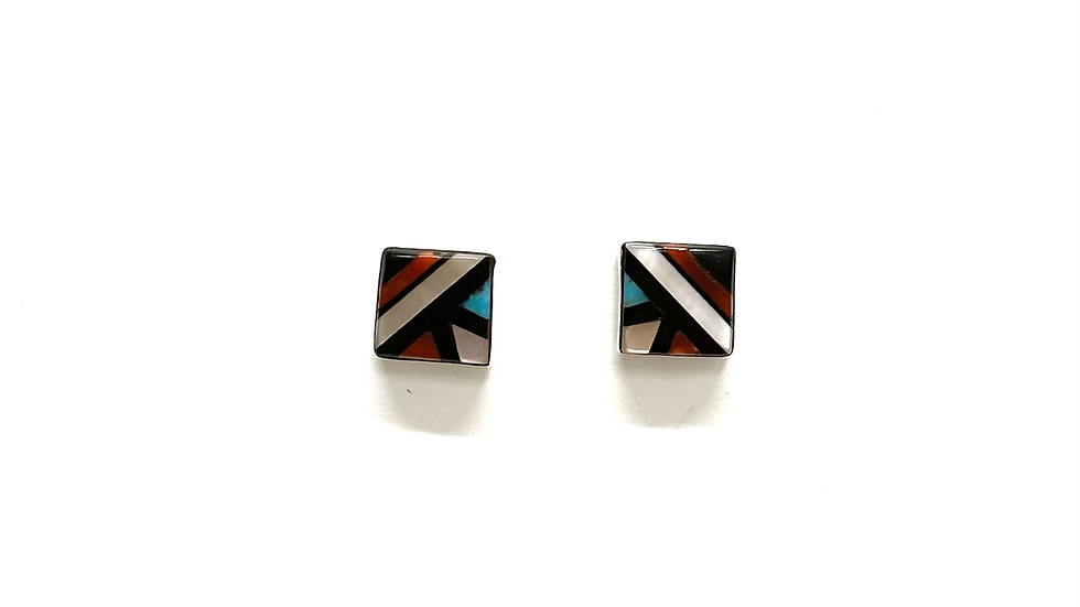 Square inlay post earrings (multi color)