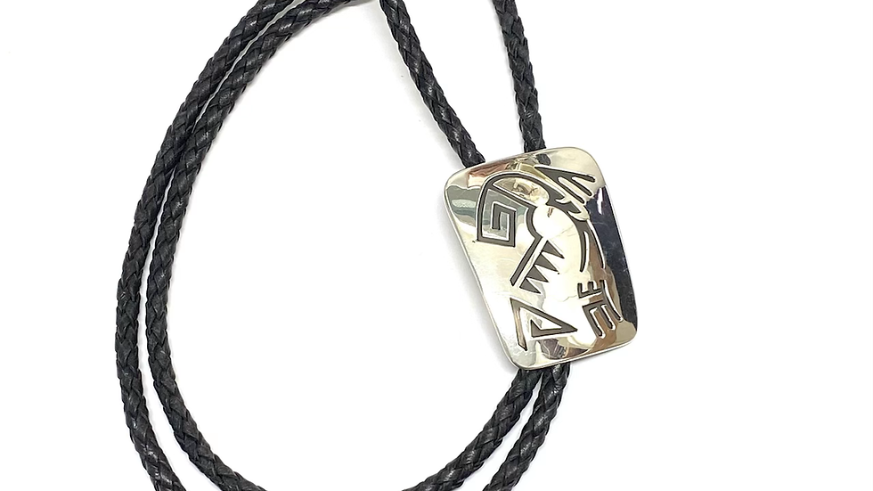 Bolo silver overlay abstract waves