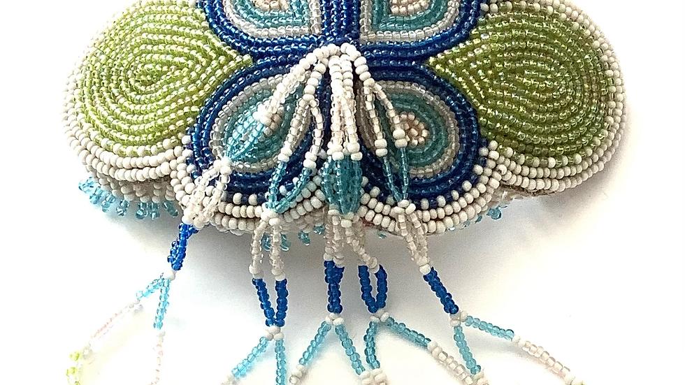 Blue tassel flower hair barrette