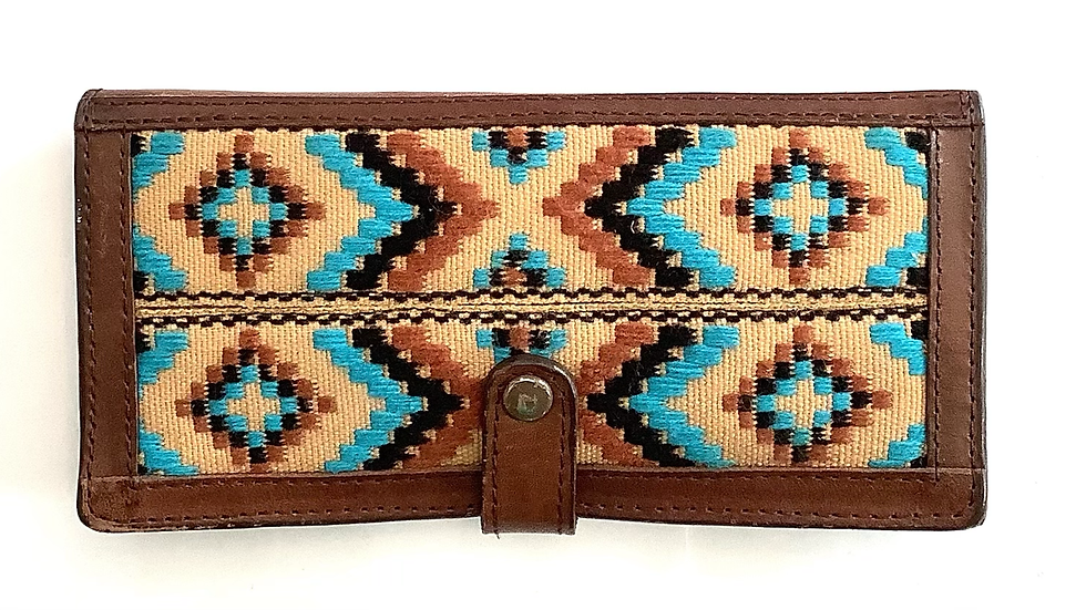 Leather woven print wallet