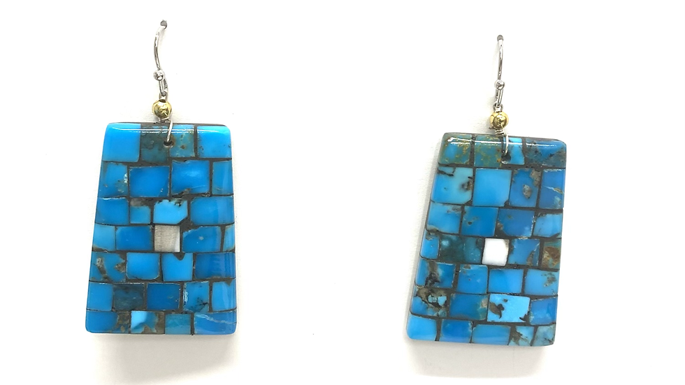 Mosaic earrings bright blue turquoise