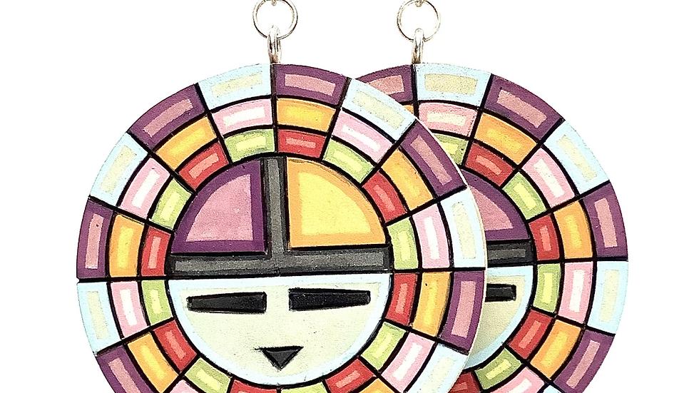 Hopi painted wood earrings