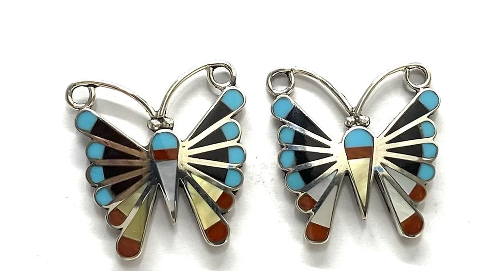 Butterfly inlay earrings