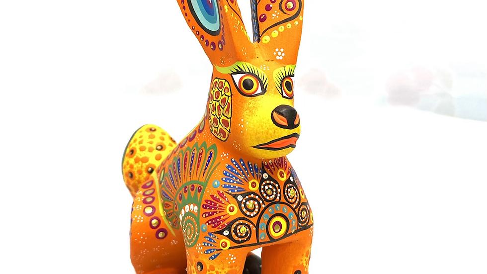 Yellow orange Rabbit Oaxacan Alebrije