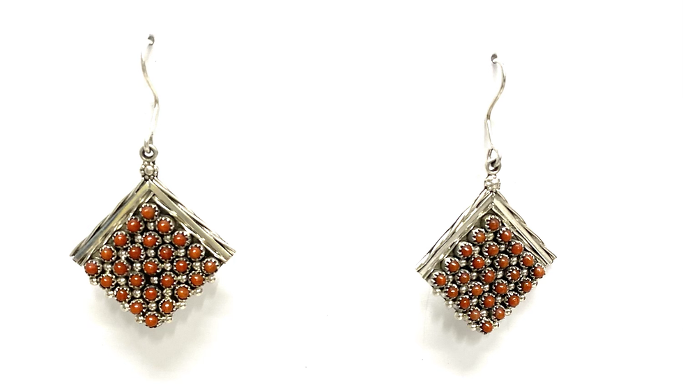 Coral petit point earrings