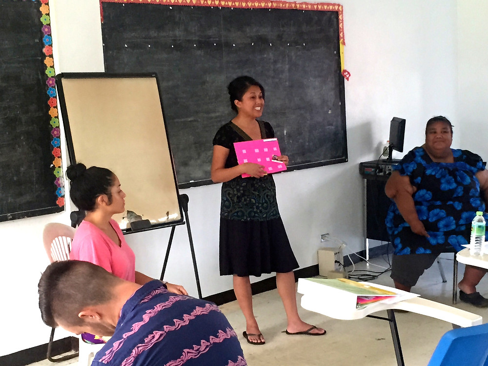 Speech pathologist Kristine Caraig at a Special Education workshop for the Department of Education, Kolonia, Pohnpei.
