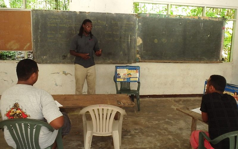 Volunteer Jeff Georges during a workshop in one of the outer islands of Pohnpei.