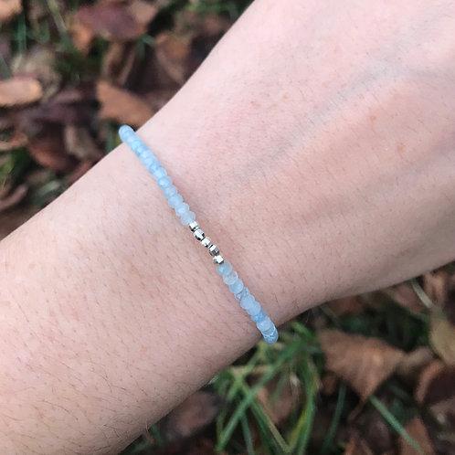 Bracelet Aigue-marine et argent