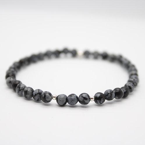 Bracelet Obsidienne flocons de neige 4mm