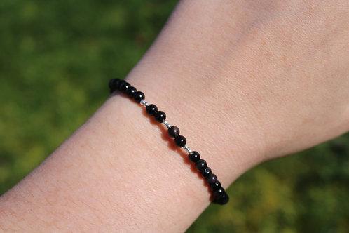Bracelet Obsidienne Oeil céleste 4mm