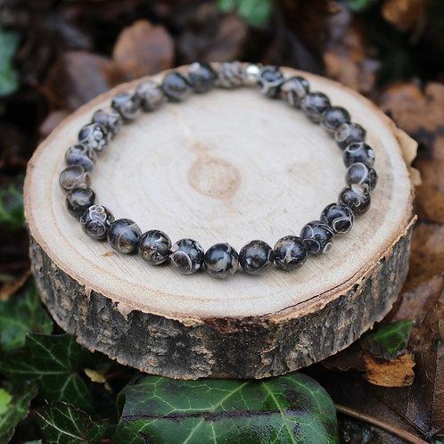 Bracelet Agate Fossile 6 mm