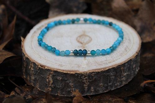 Bracelet Apatite bleue facetté 3mm