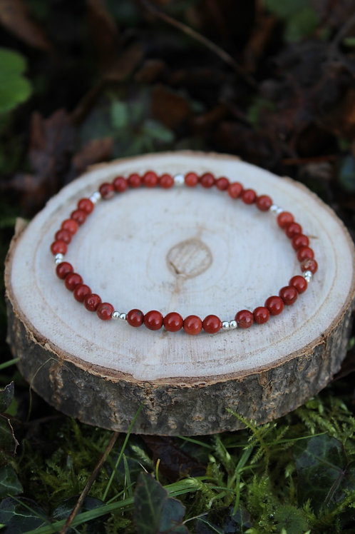 Bracelet Jaspe rouge 4mm