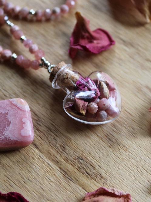 Collier de la sorcière rhodochrosite et rose