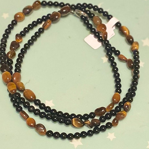 Grounded Waistbeads (Black Onyx and Tigers Eye)
