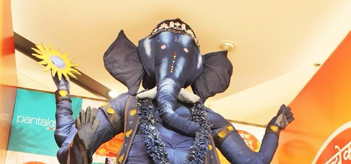 Denim Ganesha-Pantaloons