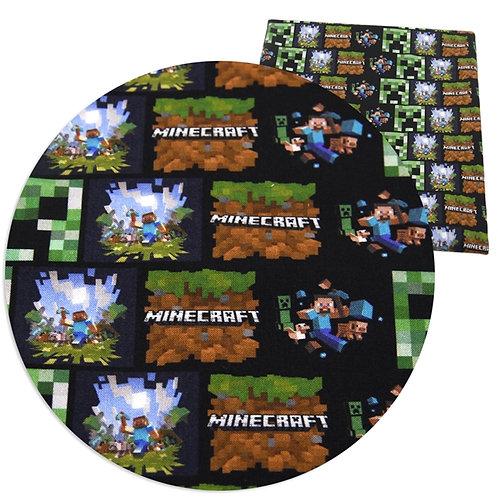 Mining Game Blocky Green Fabric