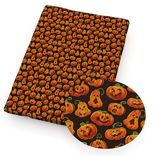 Halloween Pumpkin Funny Faces Fabric