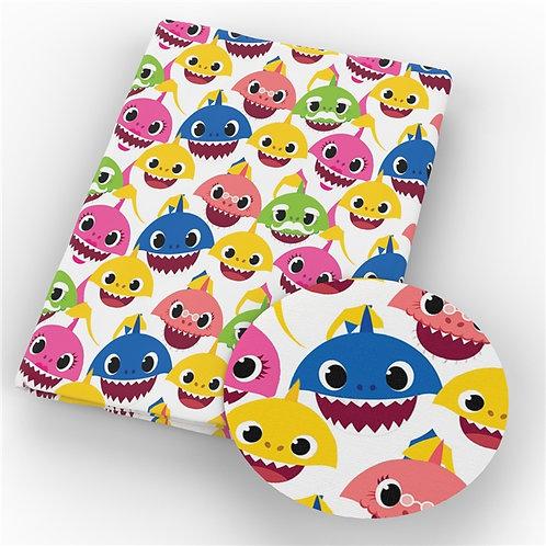Baby Shark White Fabric