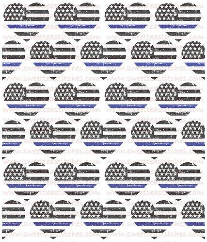 Thin Blue Line Hearts Fabric
