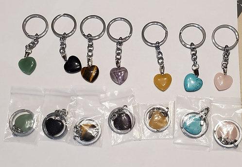 Natural Stone Keychain - Heart