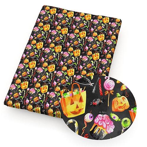 Halloween Treats Black Fabric