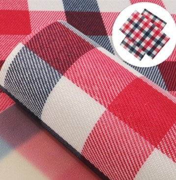 Plaid Red and Blue Embroidery Vinyl